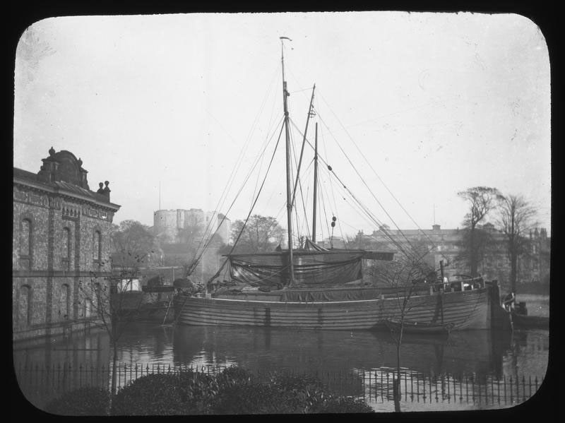 Sail barges on floodwater, York