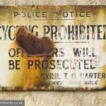 Vintage signage: cycling prohibited