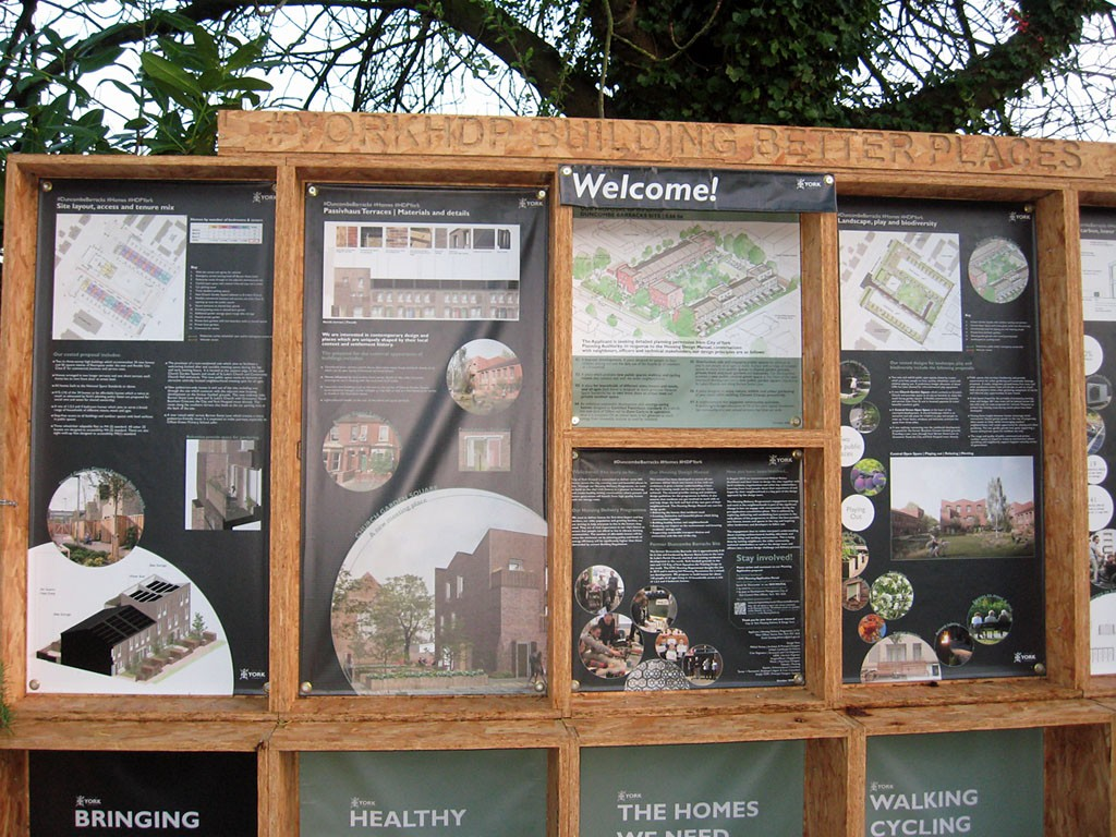 Information boards, on the plans for housing on the Duncombe Barracks site, Dec 2020