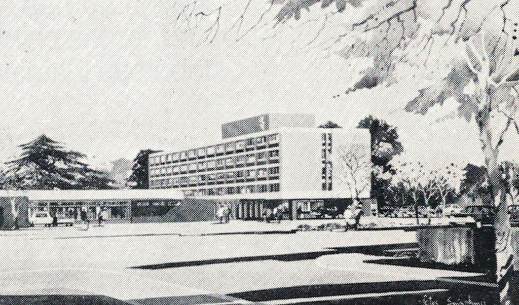 Hand drawn illustration of new hotel building