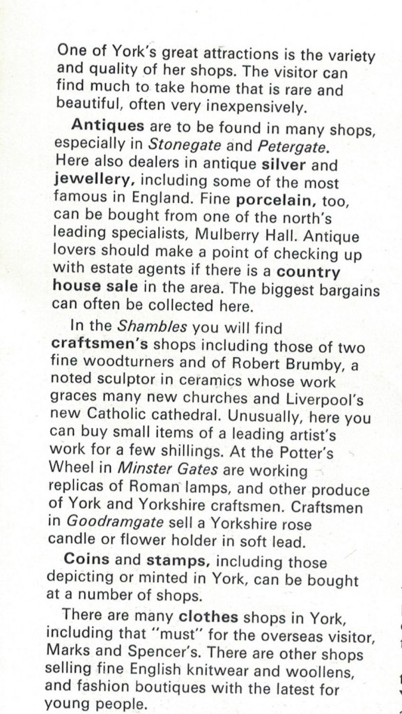 From the official York Guide, 1971/2