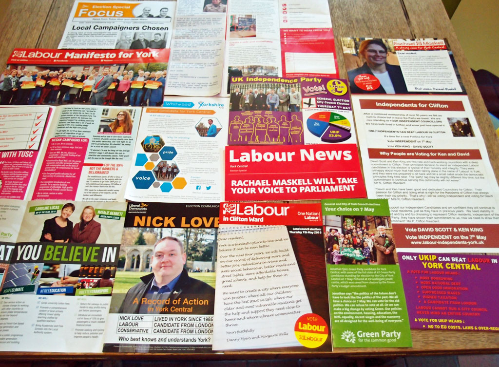 Election leaflets, 2015