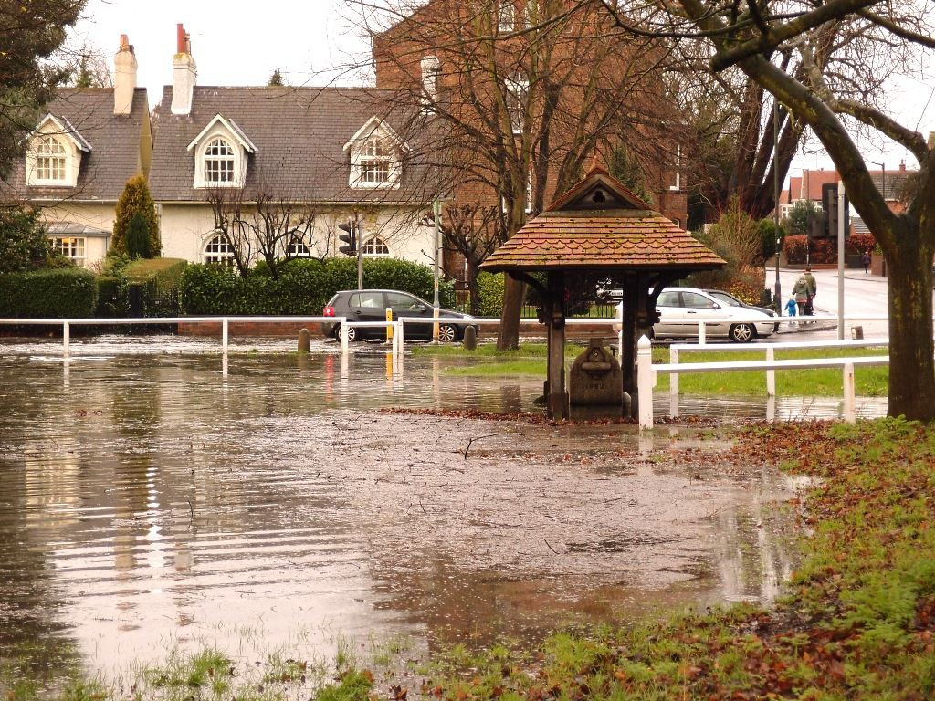 Clifton Green, with floodwater (and redundant water trough) 26 Dec 2015