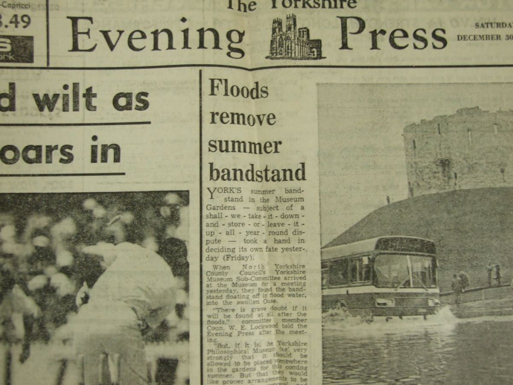 'Floods remove summer bandstand' — Yorkshire Evening Press, 30 Dec 1978