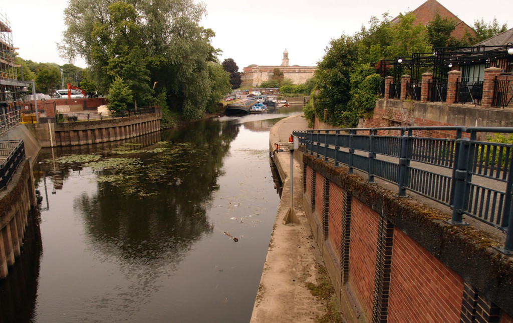 Foss Basin from Foss Barrier, looking towards the castle area, 19 July 2017