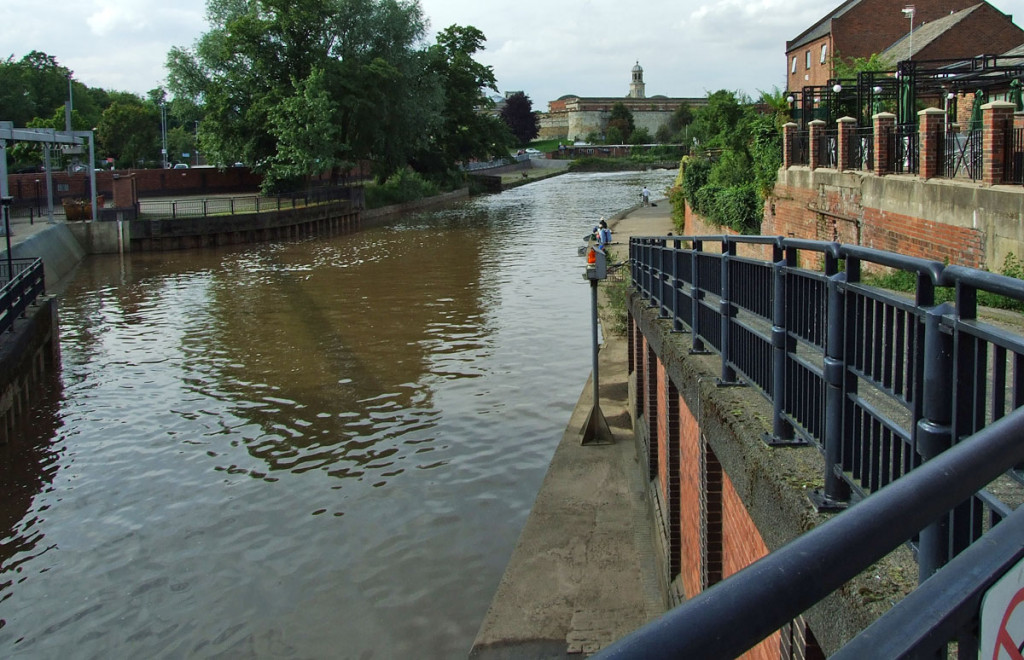 Foss Basin from Foss Barrier, looking towards the castle area, 16 July 2007