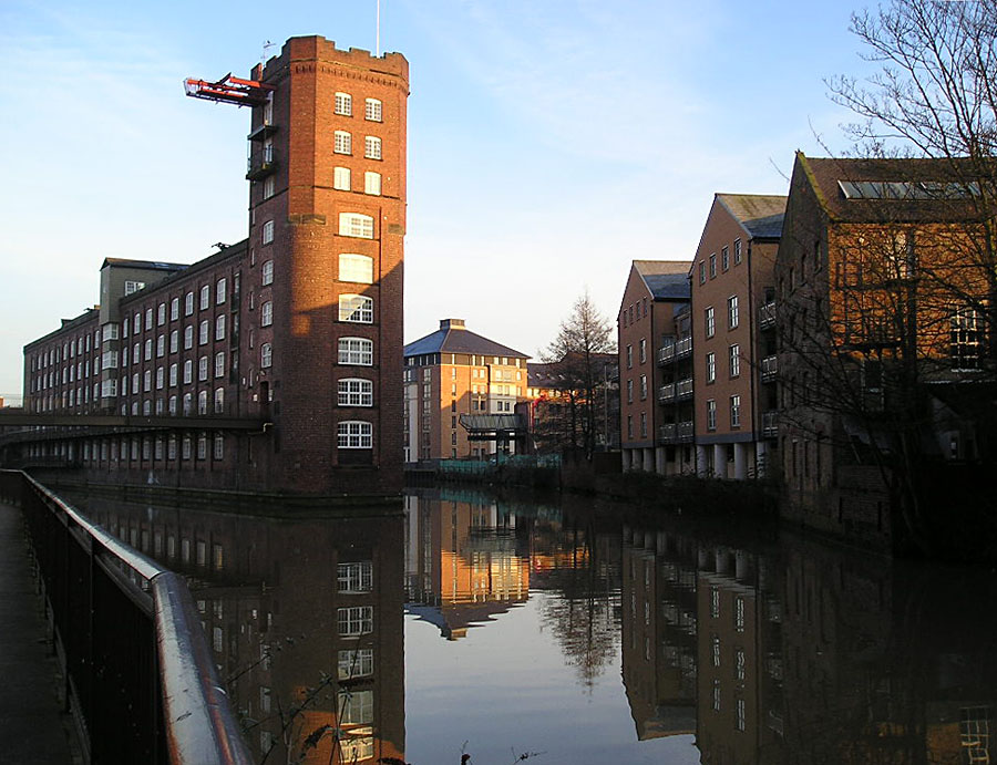 River view, with new buildings reflected in water