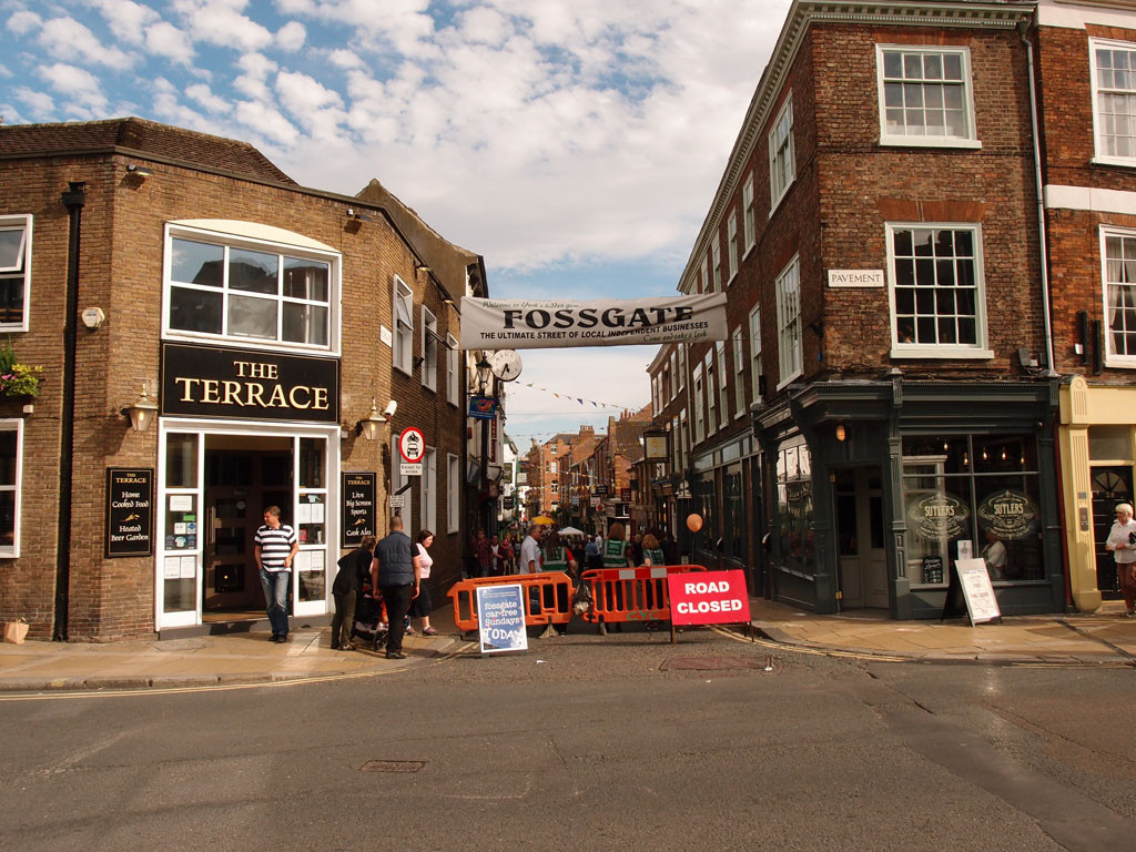 View down Fossgate, on a car-free day, summer 2015