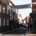 Focus on Fossgate, and a proposed sign across it