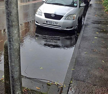 Large roadside puddle/flood