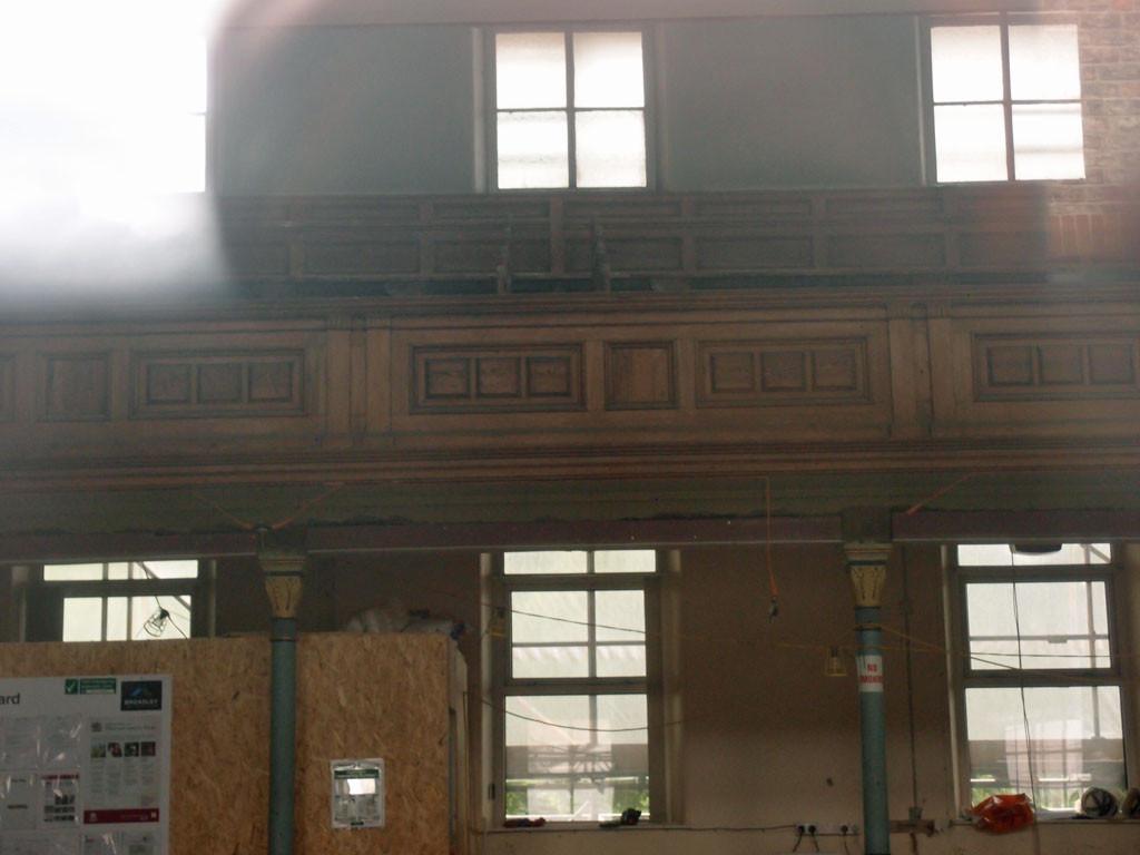 Groves Chapel interior, through window (2), 11 June 2016