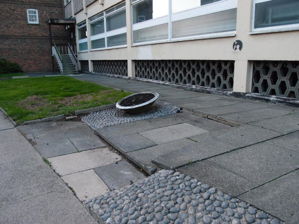 Scruffy paving and concrete planter