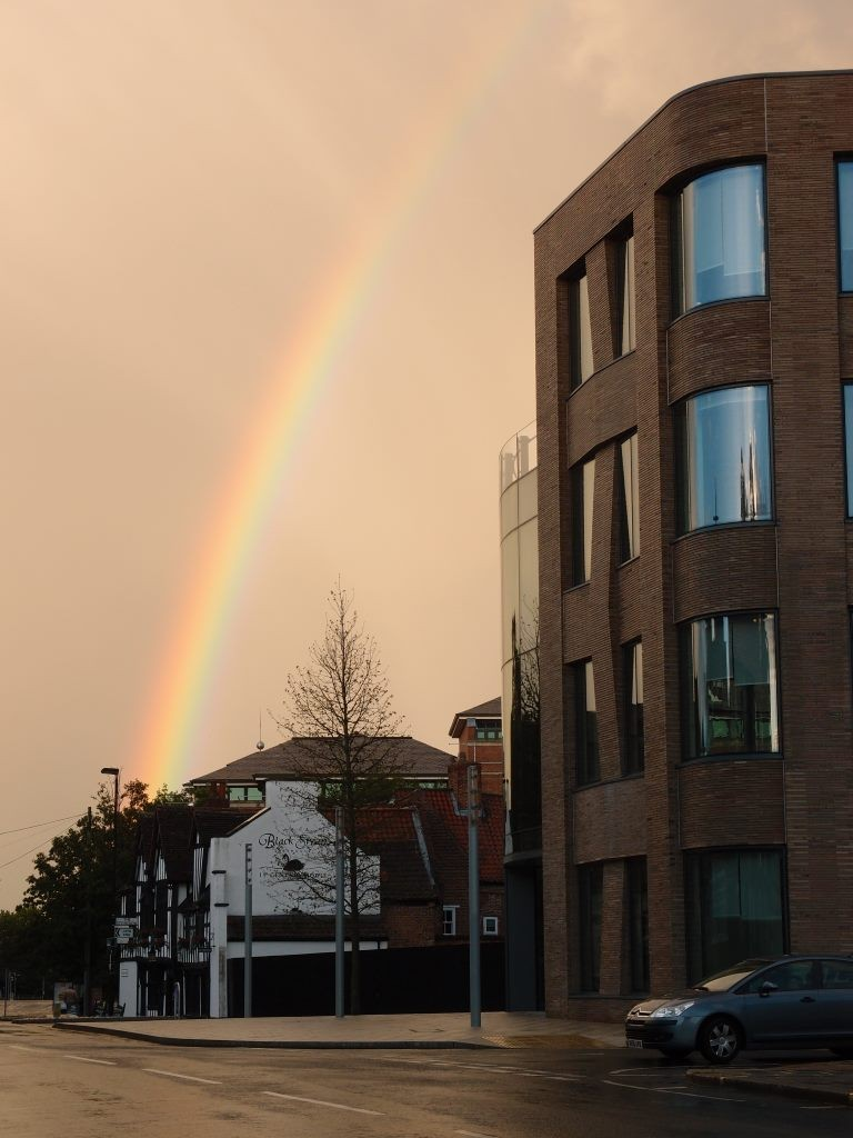 Rainbow by the Hiscox building, 25 Sept 2016