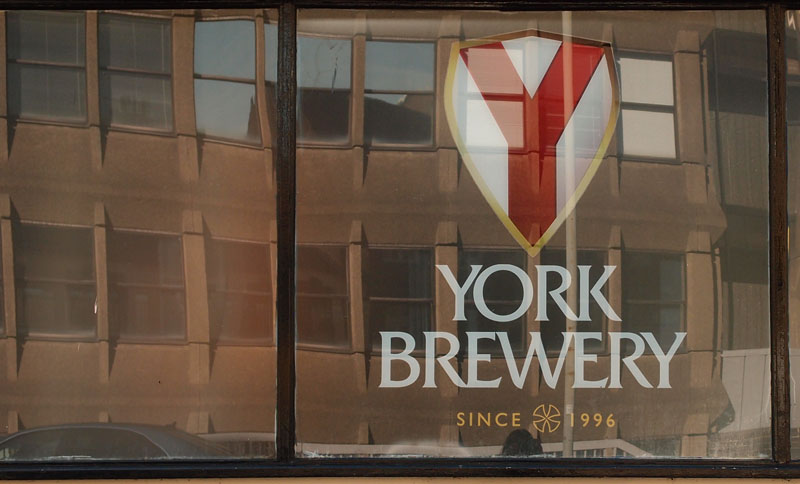 Hudson House, reflected in York Brewery windows, Aug 2014