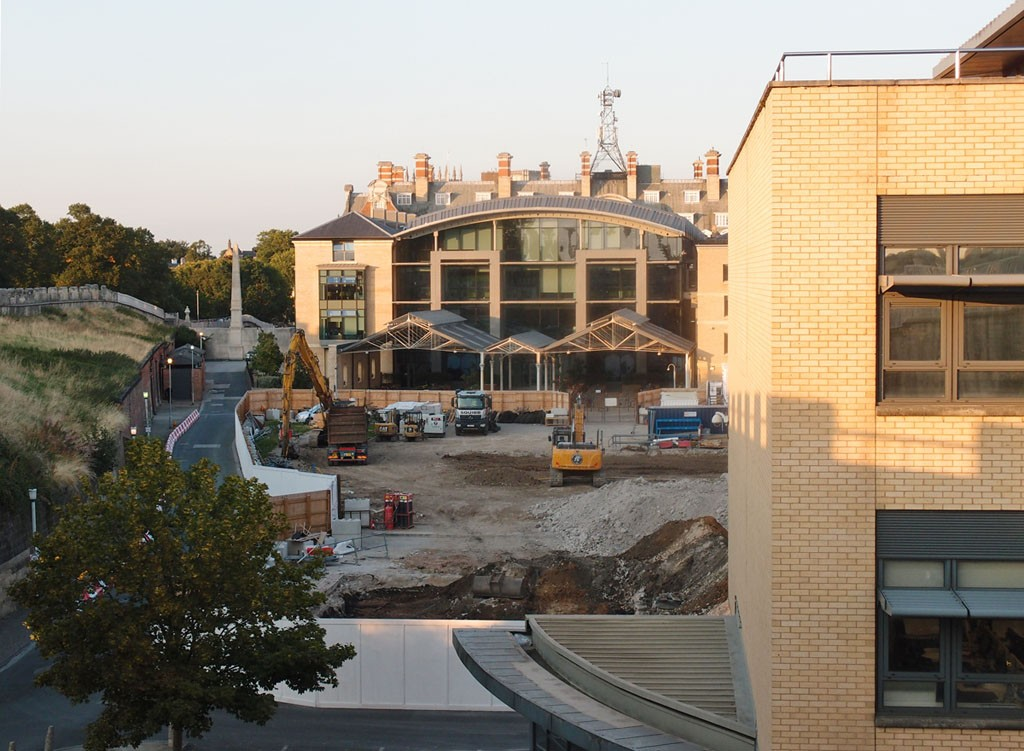 Looking towards the old station (West Offices), across the Hudson House demolition site, 21 Aug 2018