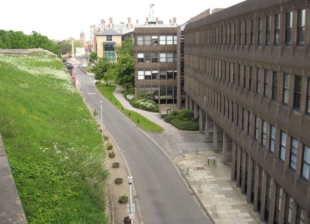 Looking towards the Minster from the city walls, with Hudson House on the right, 1 June 2013