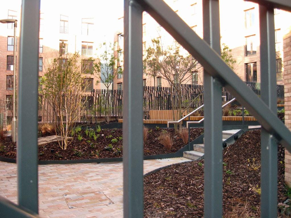 Newly planted courtyard, through metal gate