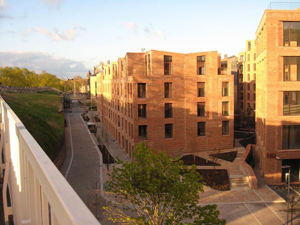 Elevated view of new brick-built apartment blocks