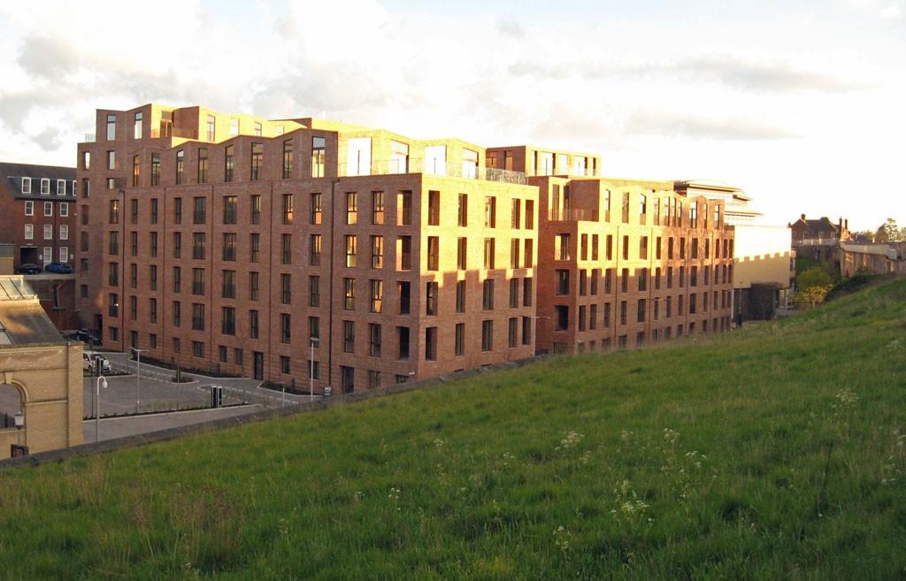 Large brick apartment blocks
