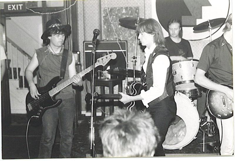 Band, gig, black and white photo