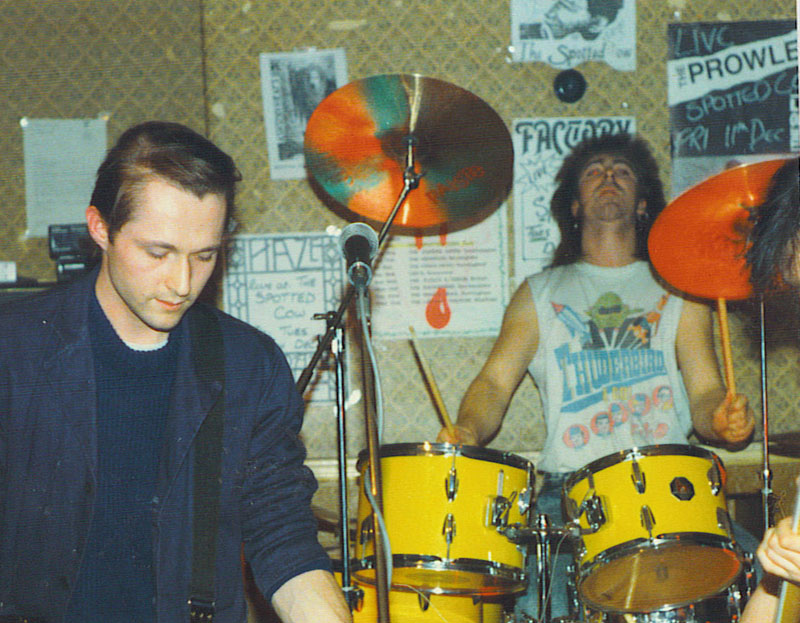 Drummer and guitarist, gig photo, 1980s