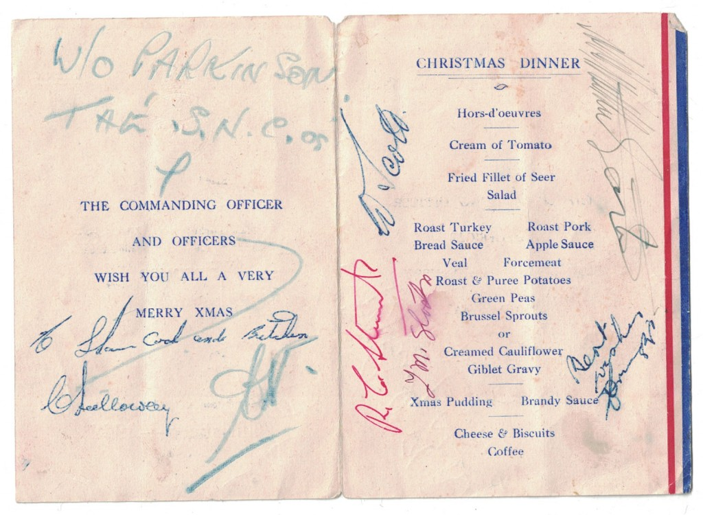 Christmas menu, RAF, 1949