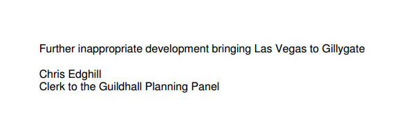 Comment on a planning application for 54 Gillygate