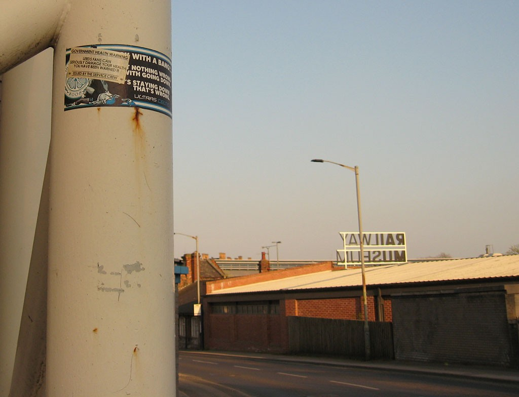 Football stickers, and a view of part of Leeman Road
