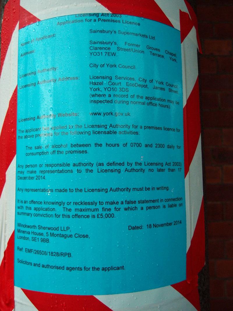 Groves Chapel: licensing application by Sainsbury's, Nov 2014