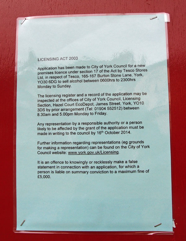 Licensing application notice, on Corner House pub, 13 Oct 2014