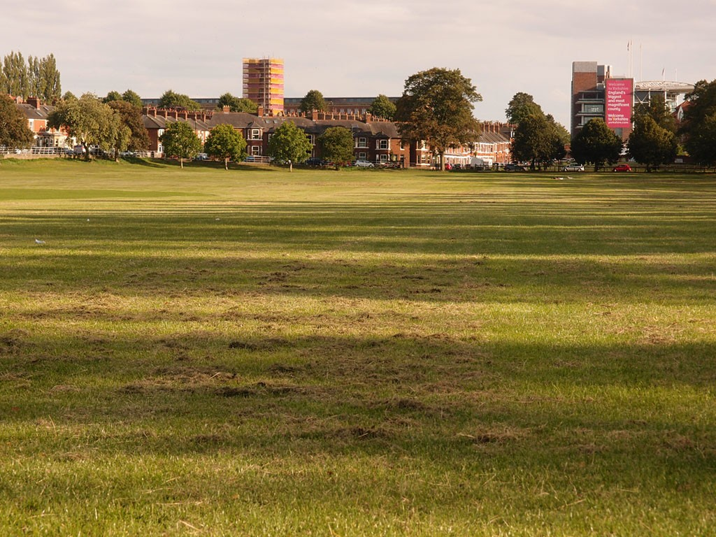 View across Knavesmire to Terry's and the racecourse, 30 Aug 2018