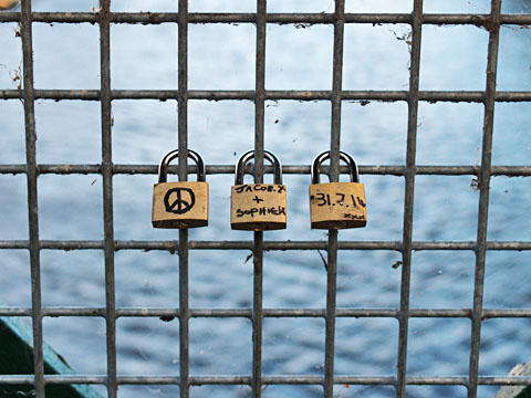 Love locks on Scarborough Bridge, Aug 2014
