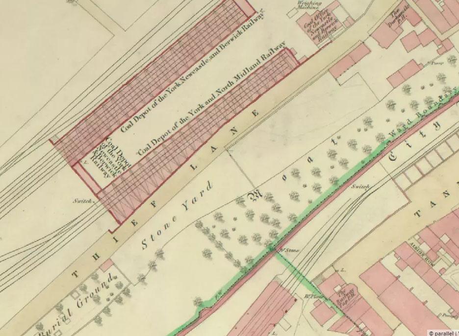 Hand-drawn coloured plan of York