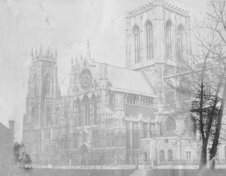 Old faded photo of cathedral