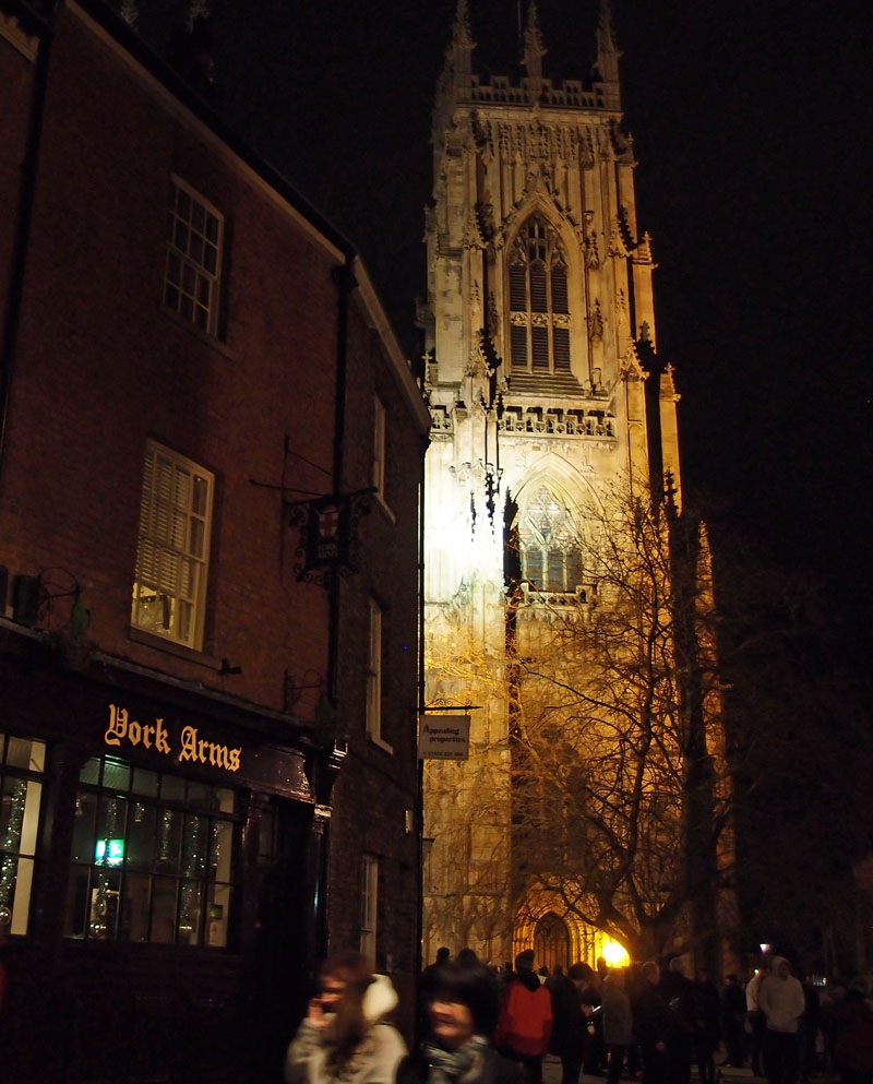 York Minster and the York Arms pub, after the bells had rung in 2017