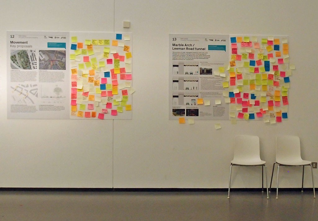Post-it notes on exhibition boards at the NRM, 27 April 2018