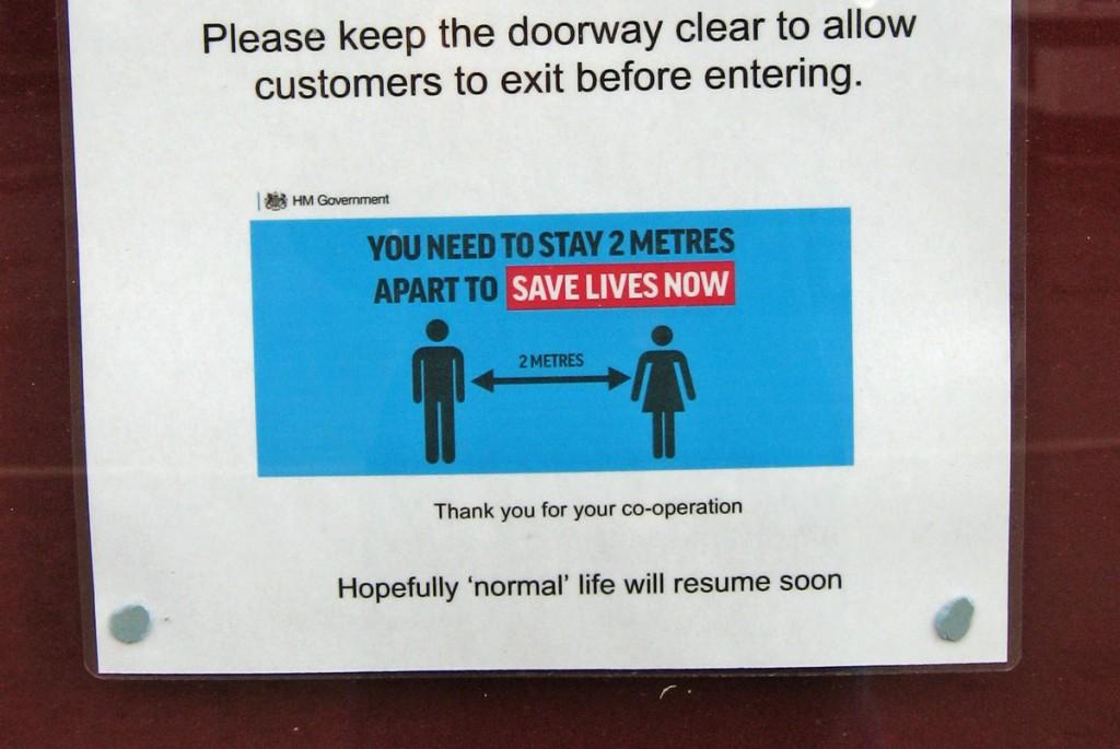 "note at bottom says ""Hopefully 'normal' life will resume soon"""