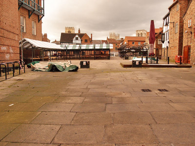 Paving and market stalls