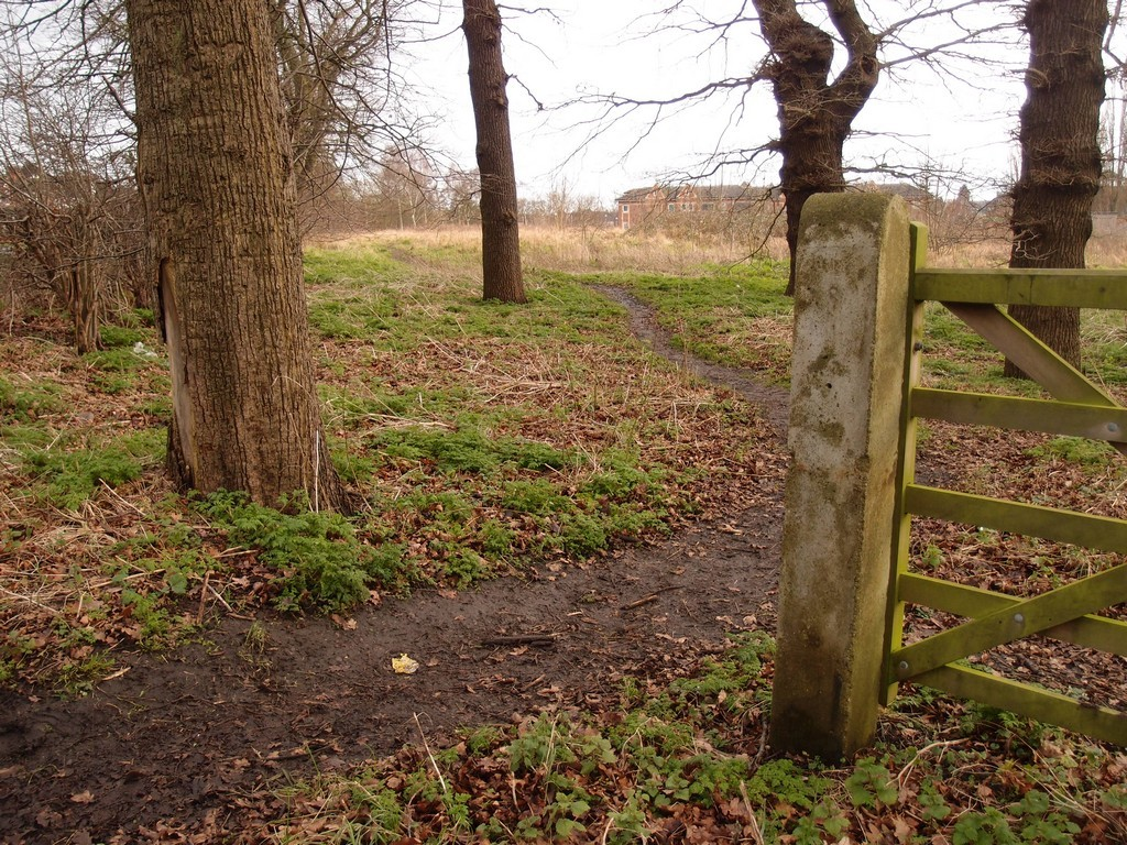 Pathway across 'Private property', near Clifton Park, 24 Jan 2016