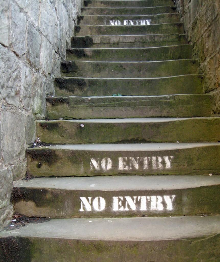'NO ENTRY' stencil on stone steps upwards