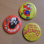 Christmas message, via pantomime badges