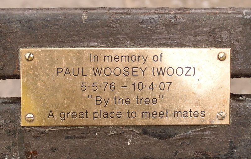 Paul Woosey's bench, King's Square, April 2015