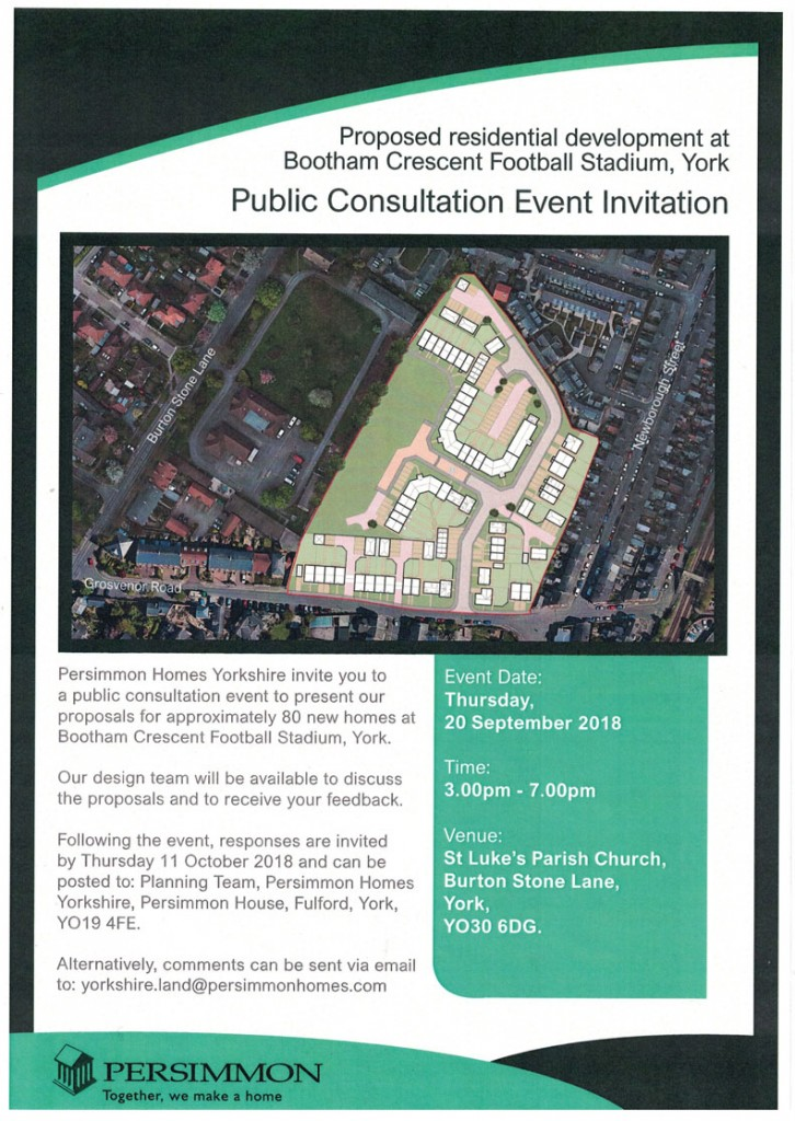 Information regarding a consultation event for the proposed housing development for Bootham Crescent football ground, from Persimmon, Sept 2018