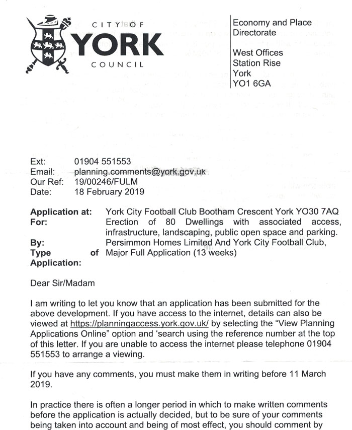 Official standard letter from CYC, on nearby planning application