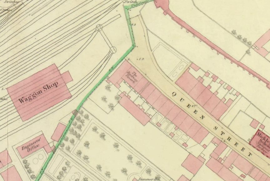 Queen St before the bridge: 1852 map
