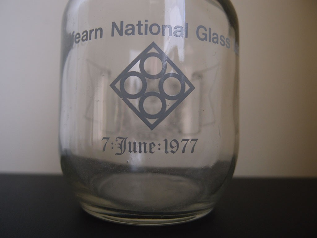 Bottle made at Redfearn National Glass Ltd, for 1977 jubilee