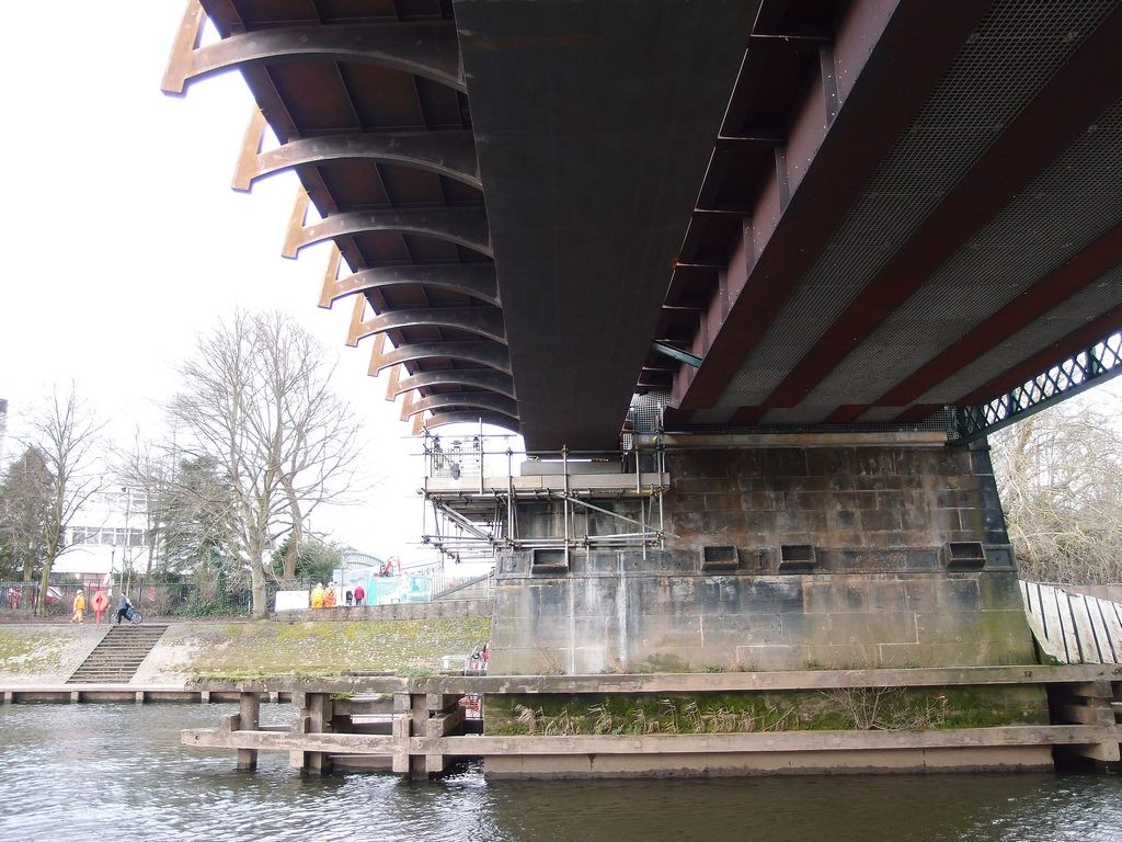 From below - new Scarborough Bridge pedestrian/cycle deck, 4 March 2019