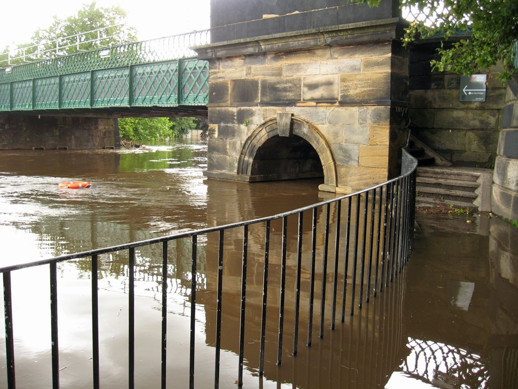 Scarborough bridge, steps inaccessible, during the September 2012 floods