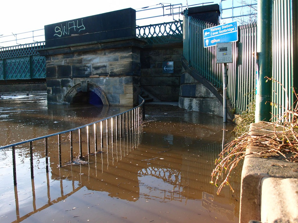Scarborough bridge, steps inaccessible, during the December 2015 floods