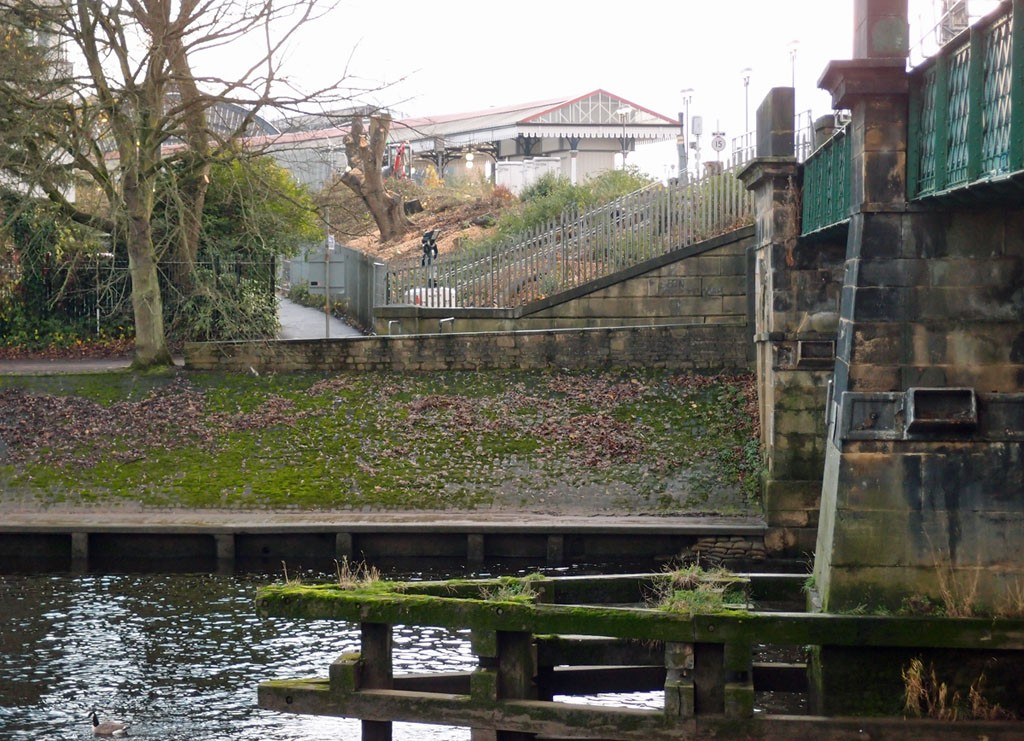 Vegetation clearance by Scarborough Bridge reveals view of York Station (26 Nov 2018)